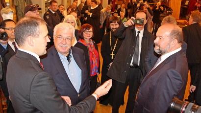 Президент Исландии Гвюдни Йоуханнессон и губернатор Архангельской области Игорь Орлов в музее «Война и мир»