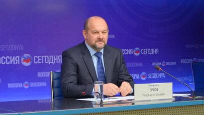 На пресс-конференции в Москве Игорь Орлов представил инвестиционный и туристский потенциал Поморья. Фото ИА «Россия сегодня»
