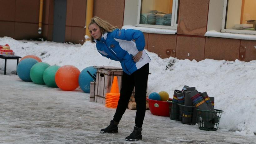 Марина Миронова провела зарядку с чемпионом