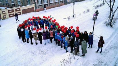 Акция в знак борьбы со СПИДом на проспекте Чумбарова-Лучинского
