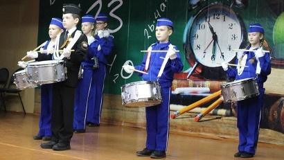 Торжественное открытие зонального центра началось с приветствия отряда барабанщиков военно-патриотического клуба «Барс»