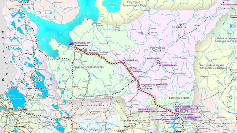 Схема магистрали «Белкомур». С сайта www.belkomur.com
