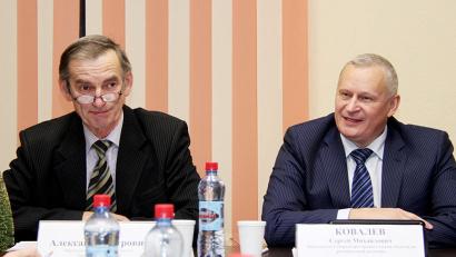 Александр Таран и Сергей Ковалёв на заседании совета Общественной палаты Поморья