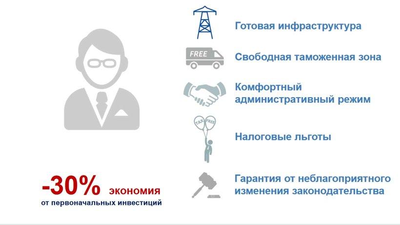 Преимущества для инвесторов (из презентации Минэкономразвития России)