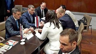 В первый день работы на площадке Хозяйственной палаты Сербии были организованы первые B2B встречи