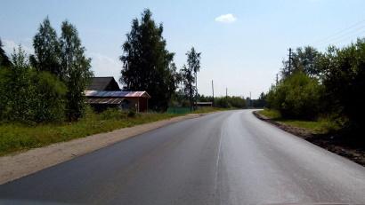 Новый асфальт на трассе Усть-Вага - Ядриха