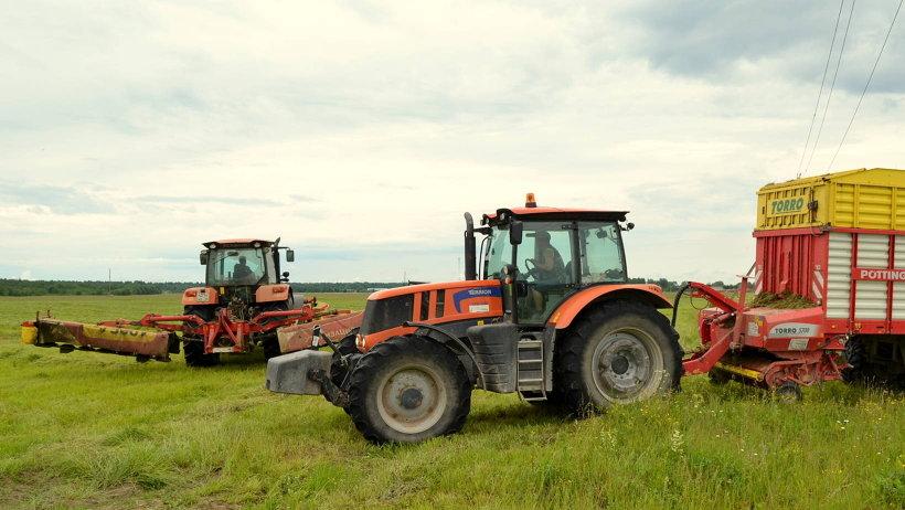 С 17 июня, на две недели раньше обычного, на землях агрохолдинга «Каргопольский» началась заготовка кормов