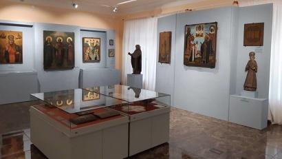 Икона из музея «Малые Корелы» на выставке. Фото: пресс-служба музея «Малые Корелы»
