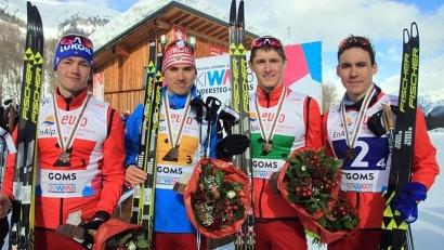 Александр Терентьев (крайний справа) в составе эстафетной сборной России