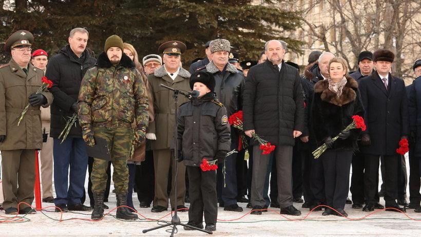 Воспитанник Архангельского морского кадетского корпуса Александр Ушаков прочитал стихи