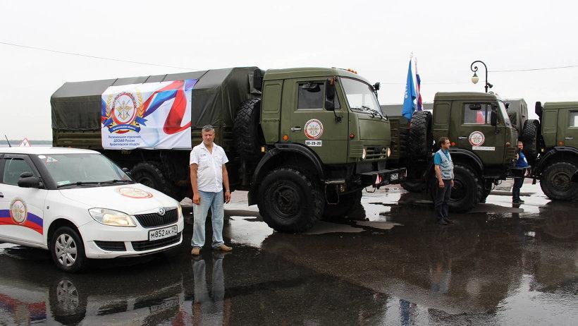 В состав колонны вошли три КАМАЗа и два легковых автомобиля, которые отправились в первый пункт пробега – Северодвинск