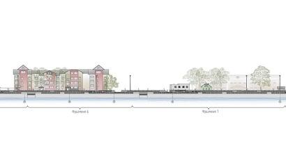 На новой набережной будет организована прогулочная зона и обустроены спуски к воде