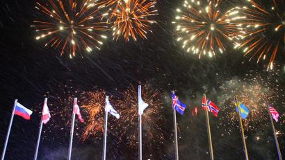 Кульминацией церемонии открытия форума стал фейрверк