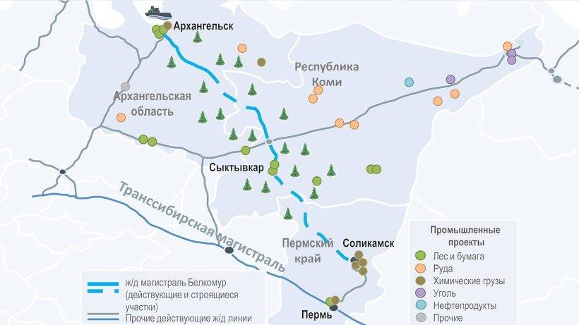 Проектируемая железнодорожная магистраль Соликамск-Архангельск