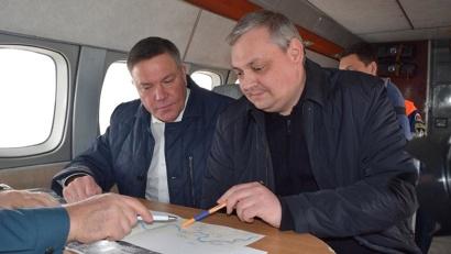Для оценки складывающейся оперативной обстановки участники совещания совершили облёт территории в районе рек Малая Северная Двина и Сухона