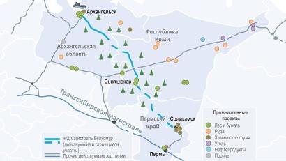 Проект «Белкомур» предполагает строительство железнодорожной магистрали Архангельск–Сыктывкар–Соликамск–Пермь протяженностью 1161 километр