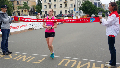 Победительница женской гонки Кристина Юрина