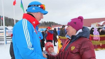 Елена Вяльбе и чемпион I юношеских Олимпийских игр  Александр Селянинов