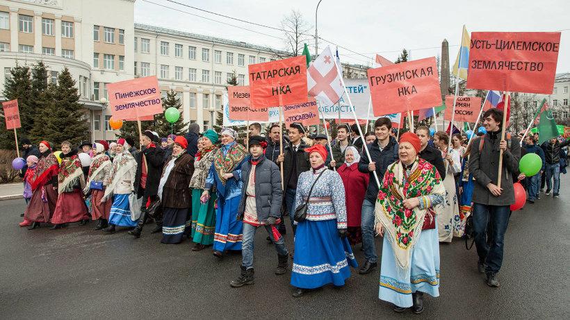 Впервые в шествии приняли участие представители национальных автономий и землячеств Архангельской области