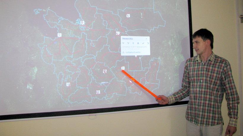 После поступления информации о возникновении лесного пожара в пункт диспетчерского управления, в течение пяти – десяти секунд она появляется на геопортале. Фото Николая Зелянина